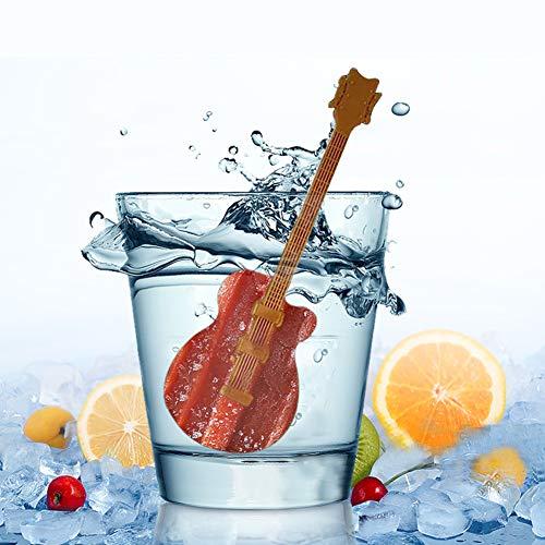 JINRU Kreative Gitarren-Eiswürfelform, Silikon-Combo - Kugel-Eiskugelhersteller mit Deckel und großen quadratischen Formen, wiederverwendbar und BPA-frei -3 Stück
