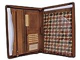 Leder A4 Leder-Schreibmappe Organizer Konferezmappe Hill Burry Aktenmappe Dokumentenmappe mit Reißverschluss Arbeitsmappe für Damen Herren aus hochwertigem Echt-Leder Vintage dunkelbraun AM3469