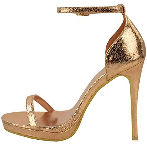 Donna Alto Peep Toe Tacco Barely There Alla Caviglia Fibbia Cinturino Sandali Taglia rosa dorato PIEGHE