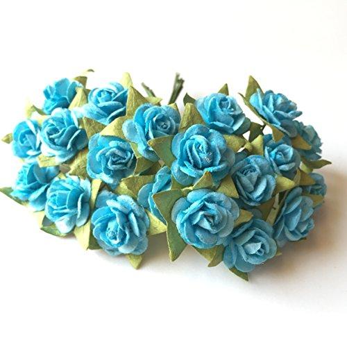 100(blau) Mulberry Papier Mini Blumenstrauß Rose Kunstblume Scrapbooking DIY Craft handgefertigt in (Valentinstag, Hochzeit etc.) Verzierung floral Arrangieren 10mm. -