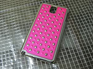 IMPRUE NEW HOT PINK LEATHER TEXTURE WITH STUDS LOOK ON BACK CASE COVER FOR GALAXY NOTE 3