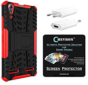 Chevron Hybrid Shock Proof Back Cover Case with Kickstand for Lenovo A6000 with HD Screen Guard & USB Mobile Wall Charger (Red)