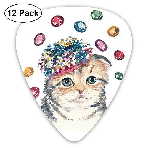 Neuheit-Regenbogen, der helle Farbneuheit-Ölgemälde-Diamanten-Hut-Katzen-Gitarren-Auswahl 12pack malt Für E-Gitarre, Akustikgitarre, Mandoline und Bass