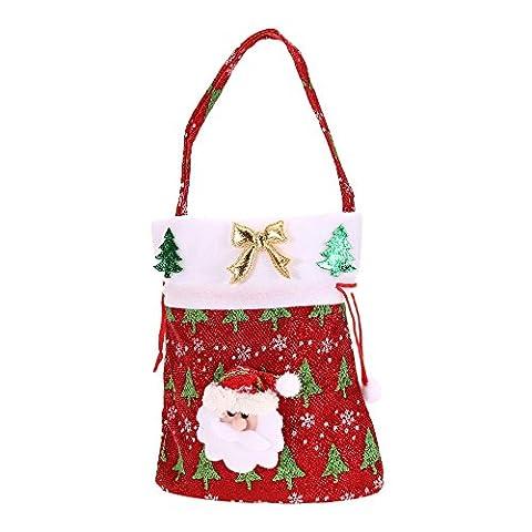 Alxcio Weihnachten Dekoration Niedlich Kinder Weihnachten Santa Süßigkeiten Beutel Zuckerbeutel Weihnachtsgeschenk Taschen,Rot Santa Stil