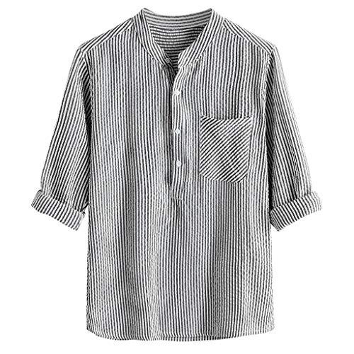 t V Ausschnitt Große Größen Einfarbig Streifen Lange Ärmel Tasche Baumwolle und Leinen Beiläufig Men Tops ()