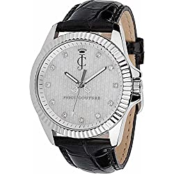 Juicy Couture Stella Women's Quartz Watch with Silver Dial Analogue Display and Black Leather Bracelet 1900931