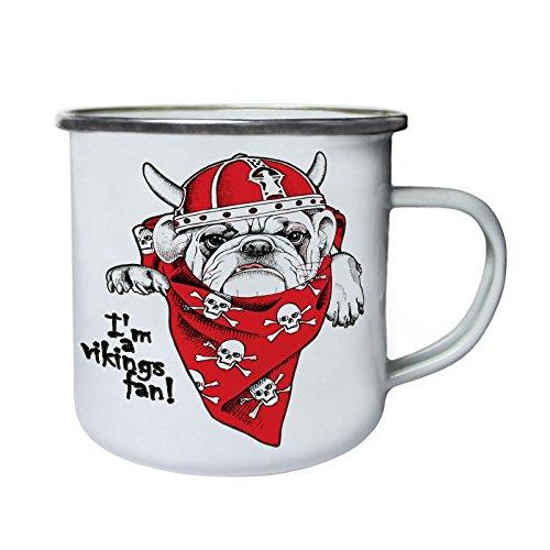Soy un fan vikingo Divertido pug de un calavera Retro, lata, taza del esmalte 10oz/280ml z466e