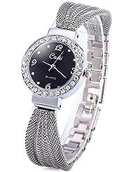 Armband Design Quarz Uhr mit Strass Dial-Edelstahl-Band für Frauen