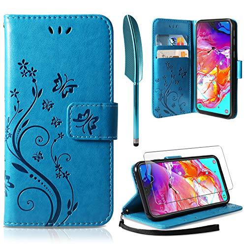 Samsung Galaxy A70 Flip Hülle+ HD Schutzfolie, Samsung Galaxy A70 Wallet Case Handyhülle PU Leder Tasche Case Kartensteckplätzen Schutzhülle für Samsung Galaxy A70 ()