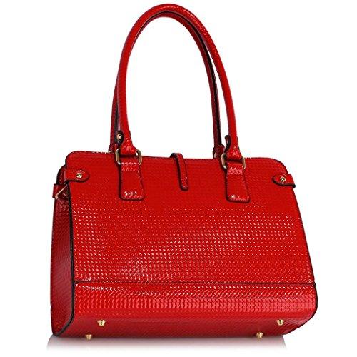 LeahWard® Damen Tragetaschen Schulter Handtasche Zum DamenQualität Tasche CW306 Rot