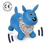 LUDI - Chien sauteur bleu, dès 10 mois. Développe la motricité. Plastique PVC épais et résistant, assure stabilité. Système de gonflage inclus. Taille 58 x 27 x 48 cm - 2776
