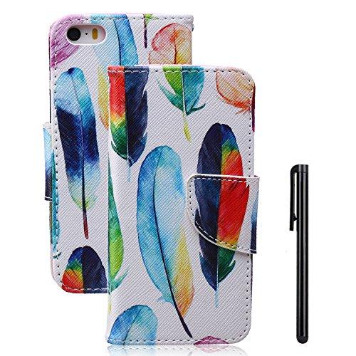 Tebeyy Handy-Case / Flipcover für Apple iPhone SE, iPhone 5S und iPhone 5, aus Kunstleder mit Magnetverschluss und Kartenschlitzen, Motiv: Blumen-Tier-Cartoon, inkl. Displayschutzfolie & Stylus Pen, PU-Leder, Feather, Apple iPhone SE/5S/5