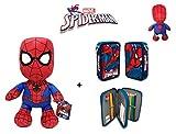 Spiderman: Peluche Spiderman 30 cm + Doppia astuccio SPIDERMAN.
