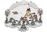 winterliches Fensterbild 23x27 cm + Saugnapf Plauener Spitze ® WEIHNACHTEN Winterlandschaft KIRCHE Wald Spitzenbild Winter Advent
