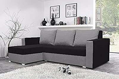 Mojito Corner Sofa Bed with Underneath Storage in Black and Grey from Sunny House
