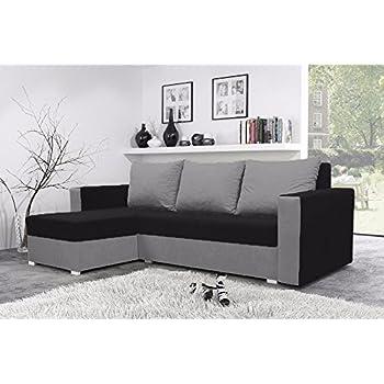 Mojito Corner Sofa Bed With Underneath Storage In Black And Grey