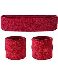 Suddora–Juego de muñequeras (1diadema y 2muñequeras) para deportes de algodón y más, granate
