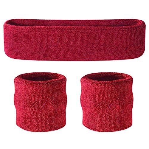 Suddora Schweißband-Set, Stirnband und Armbänder, für den Sport - Maroon