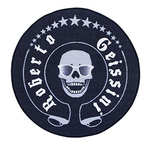 Roberto Geissini Getufteter Designer-Teppich Skull, leicht zu reinigen und aus robustem Material, Farbe:Schwarz, Größe:Ø 100 cm