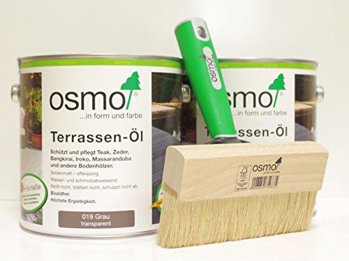 OSMO AB.Bauconcept GbR© Kombiangebot Terrassen-Öl 019 Grau 5 Liter Fußbodenstreichbürste 150 mm