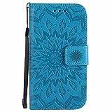 Galaxy S4 Hülle, Dfly Premium Slim PU Leder Mandala Blume prägung Muster Flip Hülle Bookstyle Stand Slot Schutzhülle Tasche Wallet Case für Samsung Galaxy S4 i9500, Blau