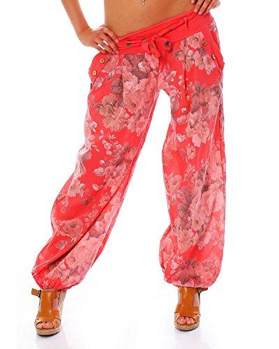 Moda Italy Damen Haremshose Pumphose Ballonhose Pluderhose Yogahose Aladinhose Harem Sommerhose mit Stoffgürtel Flower-Print, One Size Gr.36-42, Lachs Orange Floral Muster