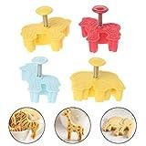rryilong 4pcs 3d animales de plástico Copa de pastel de bricolaje herramientas de galletas molde para Fondant molde de horno