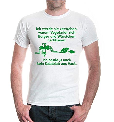 buXsbaum® T-Shirt Ich werde nie verstehen, warum Vegetarier sich Burger und Würstchen nachbauen White-Green