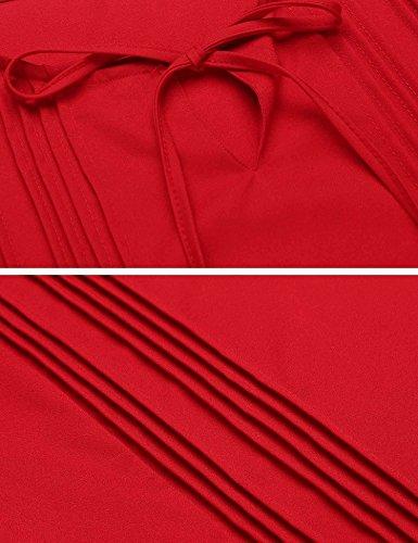 Beyove Damen Elegant Chiffon Bluse Langarm Blusenshirt Hemd Lose Shirt Oberteil Tops Rundhals mit Schleife Rot