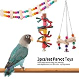 HEEPDD 3pcs Parrot Toys Set Triangle Stand Rack Hanging Ladder Bird Cage Hammock Swing Hanging Chewing Toy with Bell for Macaw Parakeet Cockatoo Cockatiel Conure Lovebirds Canaries