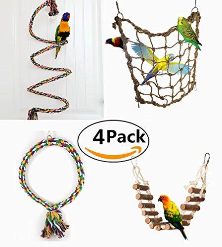 4 Pezzi Giochi Pappagalli Uccello Toys Masticare Giocattolo Colorato Giocattolo Trespolo Posatoio Pappagalli Set Giocattoli per Uccellini Pappagalli