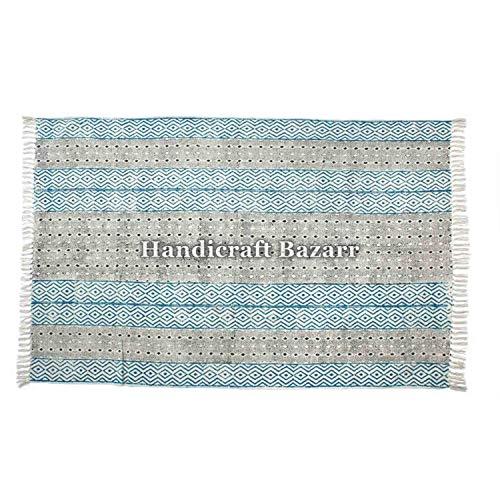 Indischer Teppich, 100% Baumwolle, Ethno-Stil, mit Handblockdruck, Kilim-Teppich, Kilim-Teppich, Namaz-Matte, Baumwolle, Blockdruck, Akzent-Bereich, Flachgewebe, handgewebt, Boho indisch, Bohemian