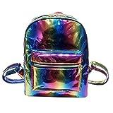 Watopi - Zainetto laser da ragazza, colore argento lucido, per scuola, multicolore, olografico,...