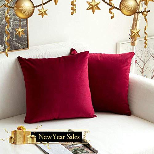 MIULEE Pack de 2, Terciopelo Suave Juego de Mesa de Manta de decoración Cuadrado Fundas de Almohada Funda de cojín para sofá Dormitorio Coche 18 * 18 Pulgada 45 * 45 cm Vino Rojo