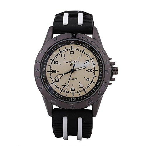 Montres pour les hommes, unisexe Quartz Silicone Sport Big Dial Analog Watch Watch(Black White Strap White Dial)
