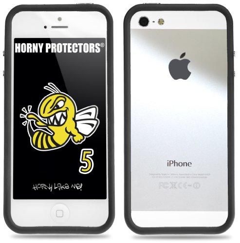 Horny Protectors Cover Case Bumper Schutzhülle für Apple iPhone 5 TPU Silikon lila/schwarz transparent schwarz - schwarz