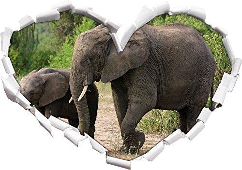 Elephant accanto giovane a forma di cuore in formato sguardo, parete o adesivo porta 3D: 92x64.5cm, autoadesivi della parete, decalcomanie della parete, Wanddekoratio