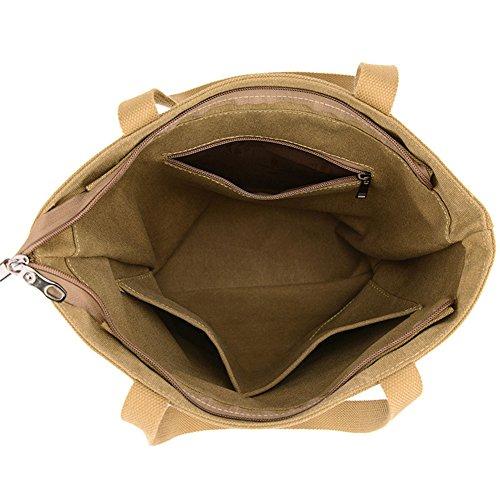 Damen Hit Farbe Nähte Schultertasche Handtasche Grau Kaki