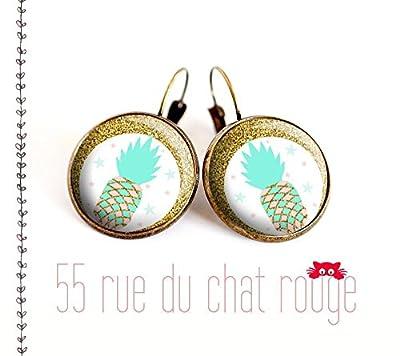 Boucles d'oreilles cabochon de verre 12/14/16/18/20 mm Ananas turquoise or paillette dorée finition laiton bronze