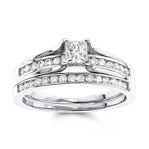 Luxurman 14K Round & Princess Cut Natural 1.1 Ctw Diamond Engagement Ring Set (White Gold Size 7)