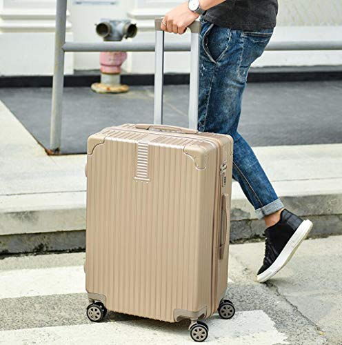 MYYDD Gepäckkoffer mit 4 Rädern Vintage Zipper Style 20in 22in 24in 26in Carry on Luggage,E,22