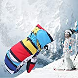 mAjglgE dicke Kinder-Fäustlinge warme Winterhandschuhe für Jungen und Mädchen, volle Finger, Snowboardausrüstung, Blau/Rot XS