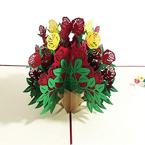 Lsgepavilion biglietto di auguri pop-up 3d per festa della mamma, con rose e fiori, idea regalo rosa