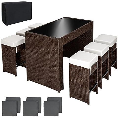 TecTake Poliratán aluminio conjunto barra mesa de bar y 6 taburetes para jardin marrón antiguo + Set de fundas intercambiables + Funda completa, tornillos de acero