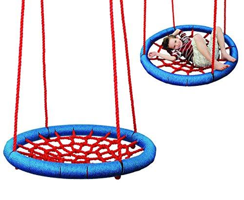 Nestschaukel / Netzschaukel - rund Ø 85 cm - bis 100 kg belastbar - Seile 18 mm stark - Swing Schaukel - Tellerschaukel - Gitterschaukel - für Außen + Innen - Kinderschaukel / Babyschaukel / Rundschaukel - für Baby Kinder Erwachsene / Spinnennetz