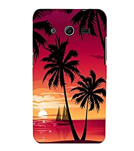 printtech Beach Palm Trees Boat Back Case Cover for Samsung Galaxy Core 2 G355H