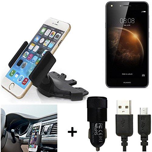 K-S-Trade® Top Set para Huawei Y6 II Compact Soporte Ranura de CD Smartphone Coche para los Dispositivos de navegación/teléfonos Inteligentes Montaje de la Radio Hecho Smartphone teléfono