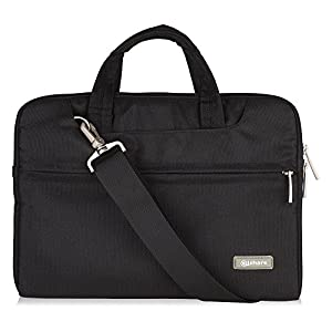 "Qishare 10 11″ 11.6″ 11.6-inch 12 Inch Black Multi-functional Business Briefcase/Messenger Case with Handle and Carrying Strap for Macbook Air 11"", Hp Stream 11(Black, 11.6-12"")"
