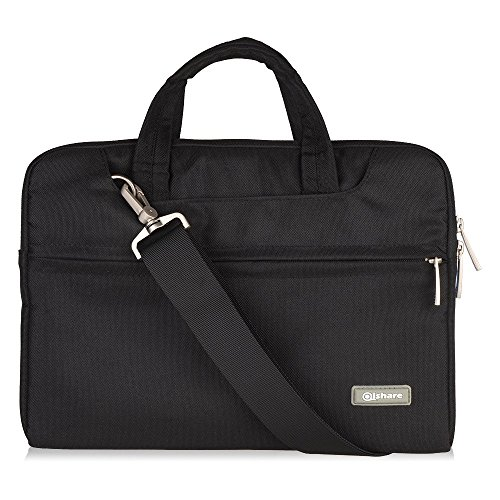 Qishare Multi-functional Polyester Fabric Waterproof Laptop Shoulder Bag,Adjustable shoulder strap&Suppressible Handle,Portable Sleeve Briefcase