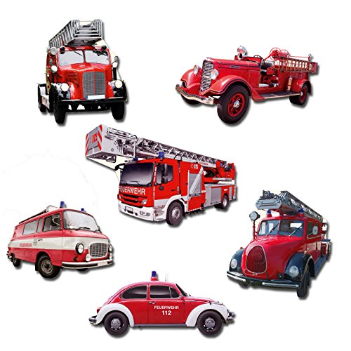 Feuerwehr Kühlschrankmagnete Set 6-teilig Feuerwehrautos Magnete (Blech Magnetwand)